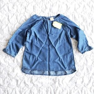 NWT Crazy 8 chambray bow sleeves top 4T-5T (xs)